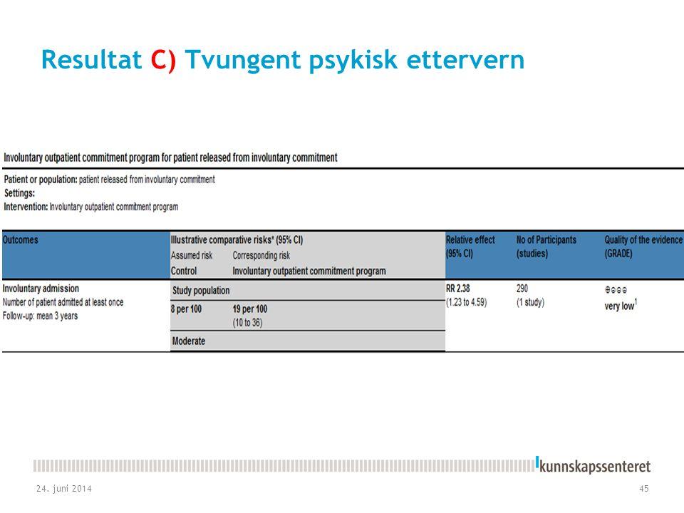 Resultat C) Tvungent psykisk ettervern 24. juni 201445