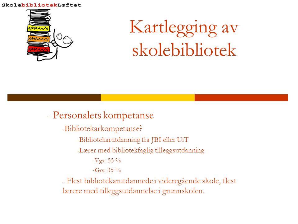 Kartlegging av skolebibliotek - Personalets kompetanse - Bibliotekarkompetanse? - Bibliotekarutdanning fra JBI eller UiT - Lærer med bibliotekfaglig t