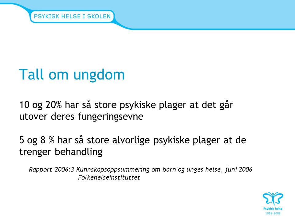 Status for psykiske lidelser i Norge Samlerapport FHI 06.10.09 Fellesnevneren for psykiske lidelser er manglende mestring http://www.fhi.no/eway/default.aspx?pid=233&trg=MainLeft_5669&MainLeft_5669=5544:80186::0:5667:2:::0:0