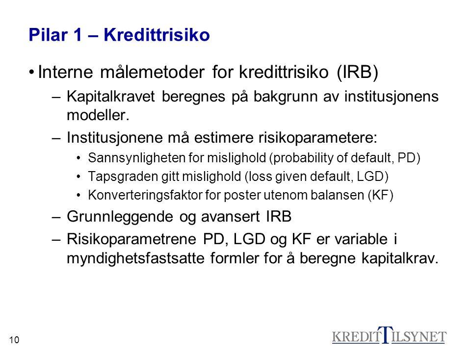 10 Pilar 1 – Kredittrisiko •Interne målemetoder for kredittrisiko (IRB) –Kapitalkravet beregnes på bakgrunn av institusjonens modeller. –Institusjonen