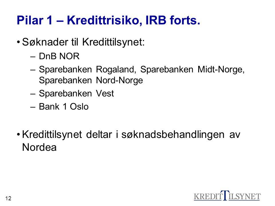 12 Pilar 1 – Kredittrisiko, IRB forts. •Søknader til Kredittilsynet: –DnB NOR –Sparebanken Rogaland, Sparebanken Midt-Norge, Sparebanken Nord-Norge –S