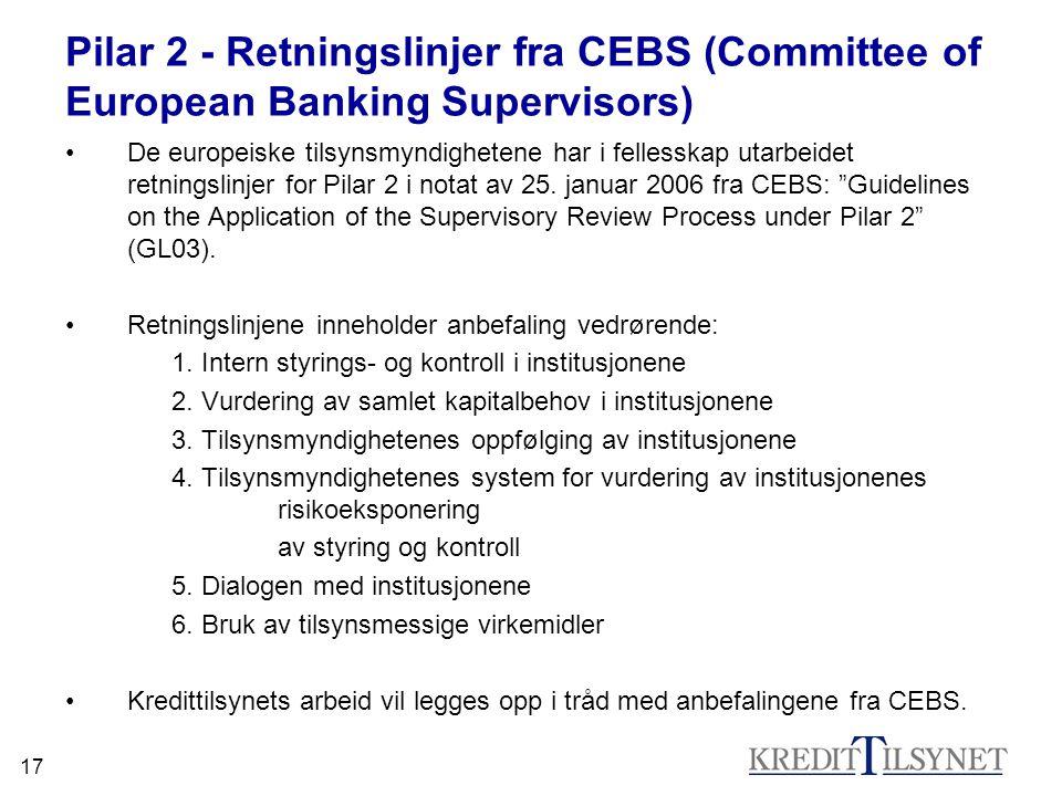 17 Pilar 2 - Retningslinjer fra CEBS (Committee of European Banking Supervisors) •De europeiske tilsynsmyndighetene har i fellesskap utarbeidet retnin