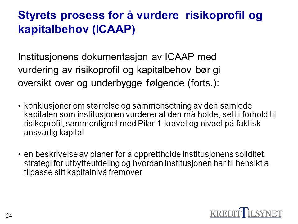 24 Styrets prosess for å vurdere risikoprofil og kapitalbehov (ICAAP) Institusjonens dokumentasjon av ICAAP med vurdering av risikoprofil og kapitalbe
