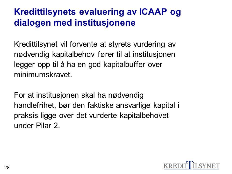 28 Kredittilsynets evaluering av ICAAP og dialogen med institusjonene Kredittilsynet vil forvente at styrets vurdering av nødvendig kapitalbehov fører
