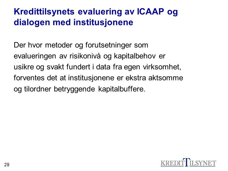 29 Kredittilsynets evaluering av ICAAP og dialogen med institusjonene Der hvor metoder og forutsetninger som evalueringen av risikonivå og kapitalbeho