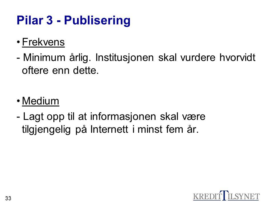 33 Pilar 3 - Publisering •Frekvens - Minimum årlig. Institusjonen skal vurdere hvorvidt oftere enn dette. •Medium - Lagt opp til at informasjonen skal