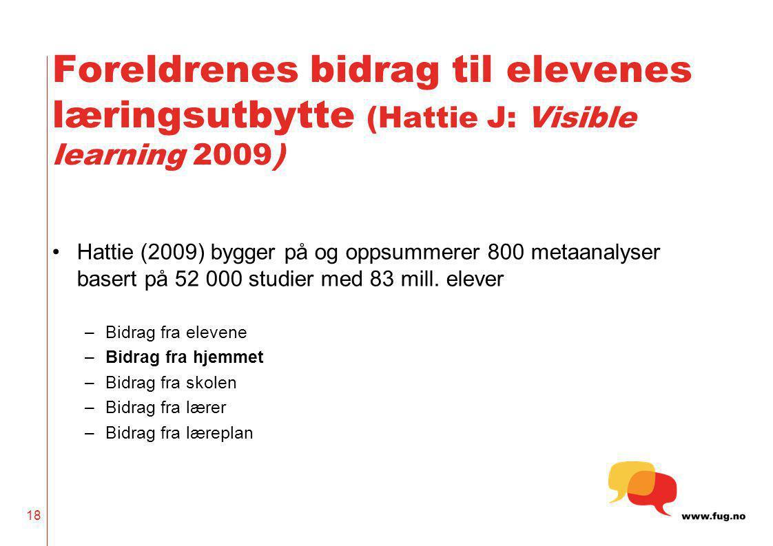 18 Foreldrenes bidrag til elevenes læringsutbytte (Hattie J: Visible learning 2009) •Hattie (2009) bygger på og oppsummerer 800 metaanalyser basert på
