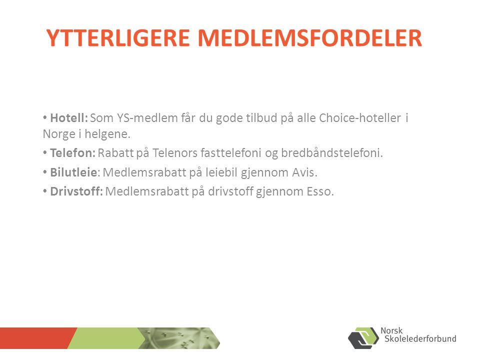YTTERLIGERE MEDLEMSFORDELER • Hotell: Som YS-medlem får du gode tilbud på alle Choice-hoteller i Norge i helgene. • Telefon: Rabatt på Telenors fastte