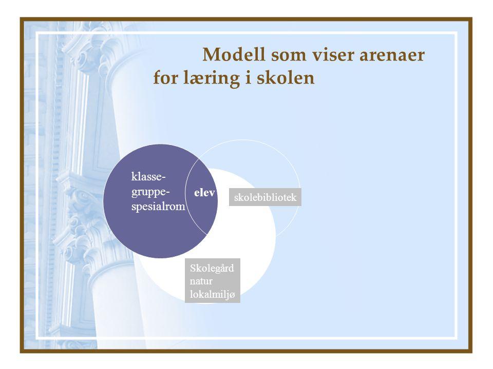 Modell som viser arenaer for læring i skolen klasse- gruppe- spesialrom Skolegård natur lokalmiljø skolebibliotek elev