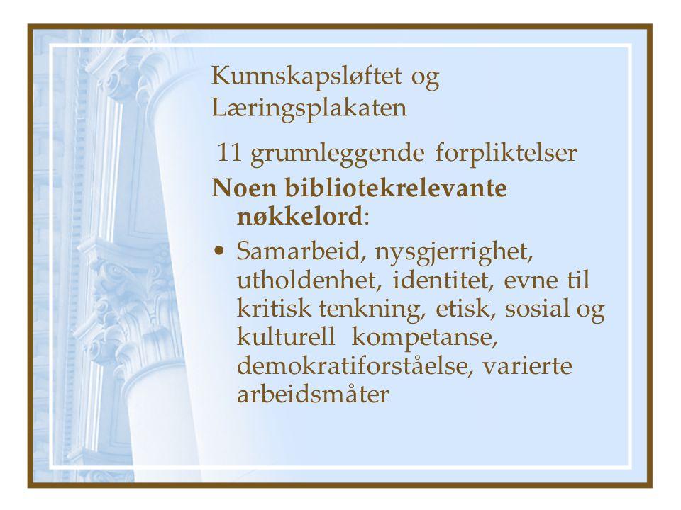 Kunnskapsløftet og Læringsplakaten 11 grunnleggende forpliktelser Noen bibliotekrelevante nøkkelord: •Samarbeid, nysgjerrighet, utholdenhet, identitet