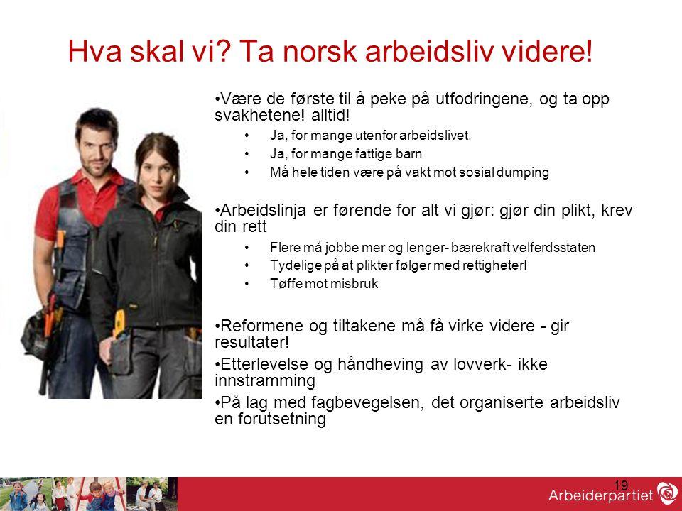 19 Hva skal vi? Ta norsk arbeidsliv videre! •Være de første til å peke på utfodringene, og ta opp svakhetene! alltid! •Ja, for mange utenfor arbeidsli