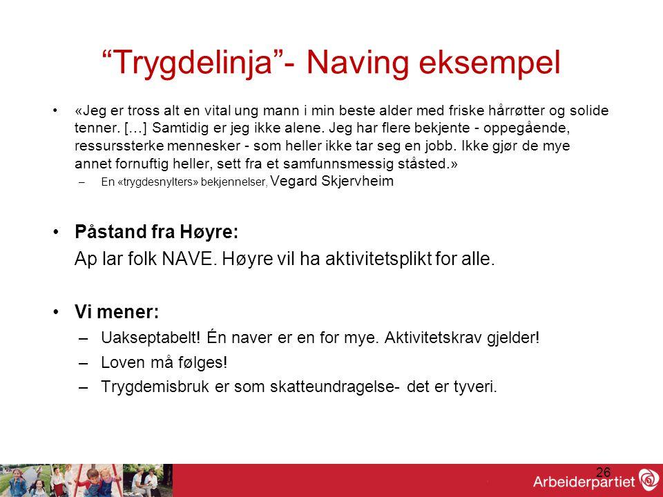 26 Trygdelinja - Naving eksempel •«Jeg er tross alt en vital ung mann i min beste alder med friske hårrøtter og solide tenner.