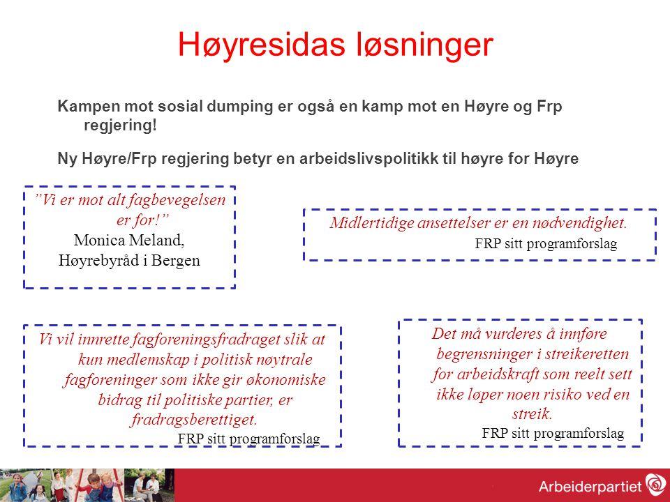 Høyresidas løsninger Kampen mot sosial dumping er også en kamp mot en Høyre og Frp regjering! Ny Høyre/Frp regjering betyr en arbeidslivspolitikk til