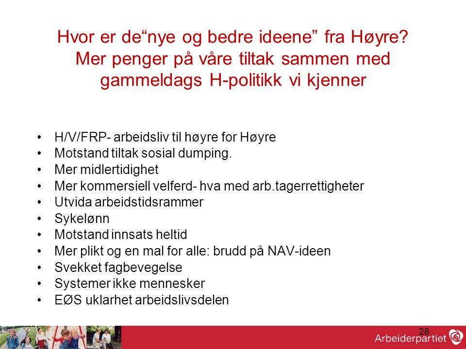 """28 Hvor er de""""nye og bedre ideene"""" fra Høyre? Mer penger på våre tiltak sammen med gammeldags H-politikk vi kjenner •H/V/FRP- arbeidsliv til høyre for"""
