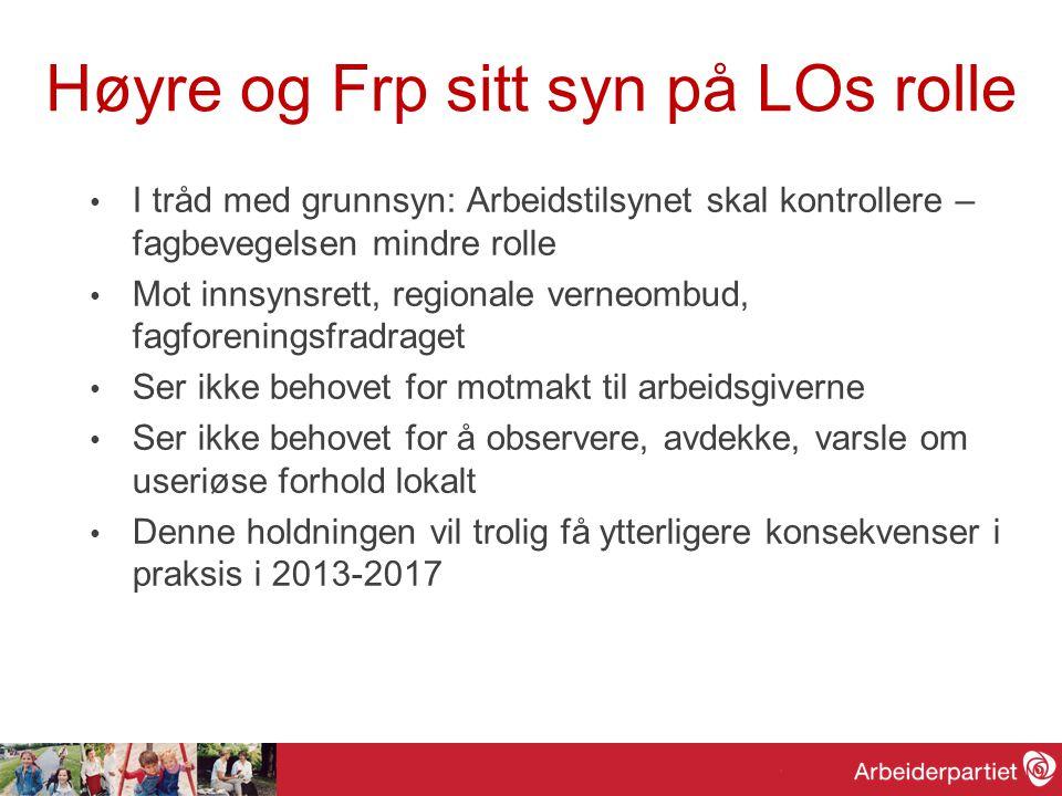 Høyre og Frp sitt syn på LOs rolle • I tråd med grunnsyn: Arbeidstilsynet skal kontrollere – fagbevegelsen mindre rolle • Mot innsynsrett, regionale v