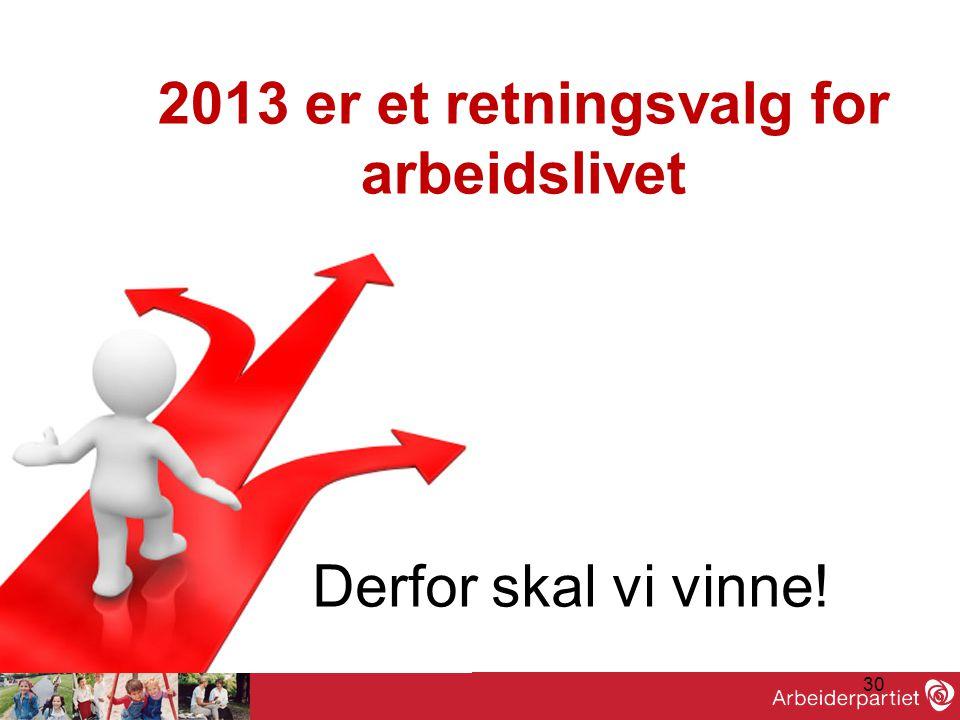 30 •God valgkamp! Derfor skal vi vinne! 2013 er et retningsvalg for arbeidslivet