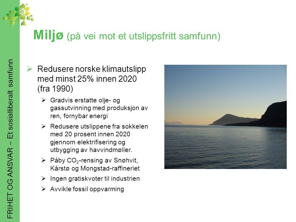 FRIHET OG ANSVAR – Et sosialliberalt samfunn Miljø (på vei mot et utslippsfritt samfunn)  Redusere norske klimautslipp med minst 25% innen 2020 (fra