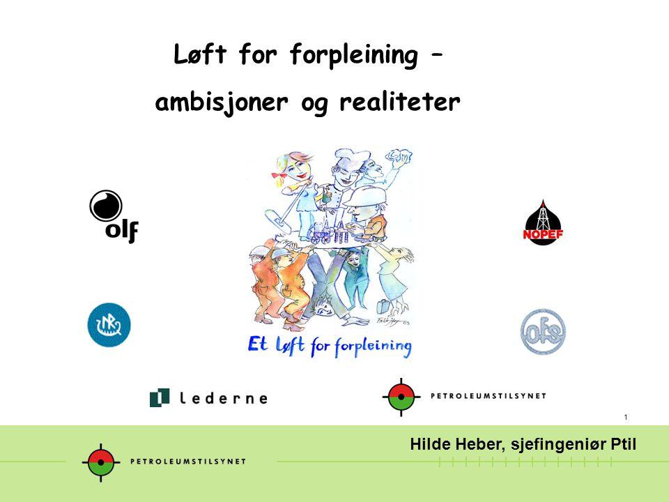 1 Løft for forpleining – ambisjoner og realiteter Hilde Heber, sjefingeniør Ptil