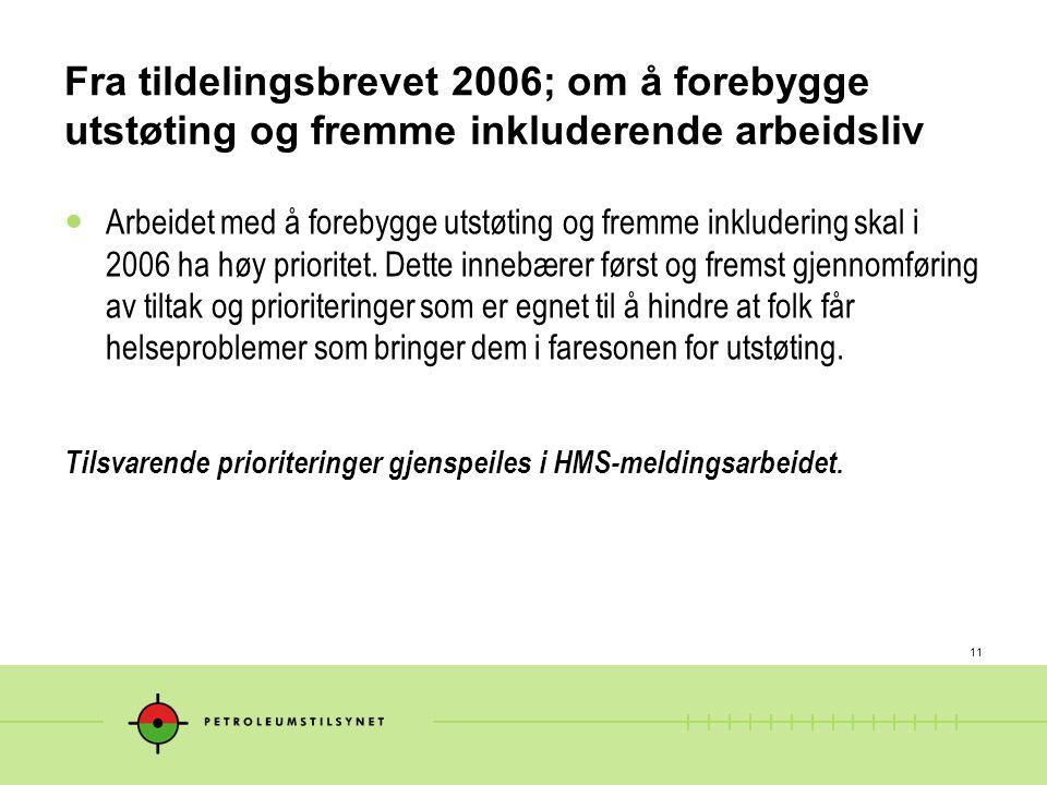11 Fra tildelingsbrevet 2006; om å forebygge utstøting og fremme inkluderende arbeidsliv  Arbeidet med å forebygge utstøting og fremme inkludering sk