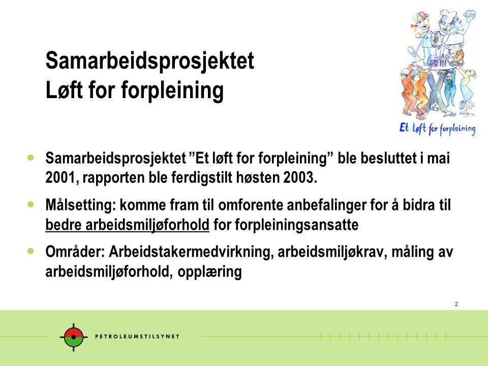 """2 Samarbeidsprosjektet Løft for forpleining  Samarbeidsprosjektet """"Et løft for forpleining"""" ble besluttet i mai 2001, rapporten ble ferdigstilt høste"""