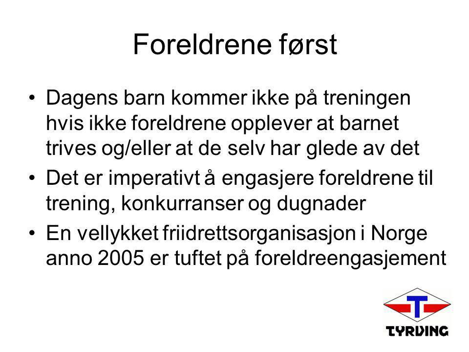 Foreldrene først •Dagens barn kommer ikke på treningen hvis ikke foreldrene opplever at barnet trives og/eller at de selv har glede av det •Det er imperativt å engasjere foreldrene til trening, konkurranser og dugnader •En vellykket friidrettsorganisasjon i Norge anno 2005 er tuftet på foreldreengasjement