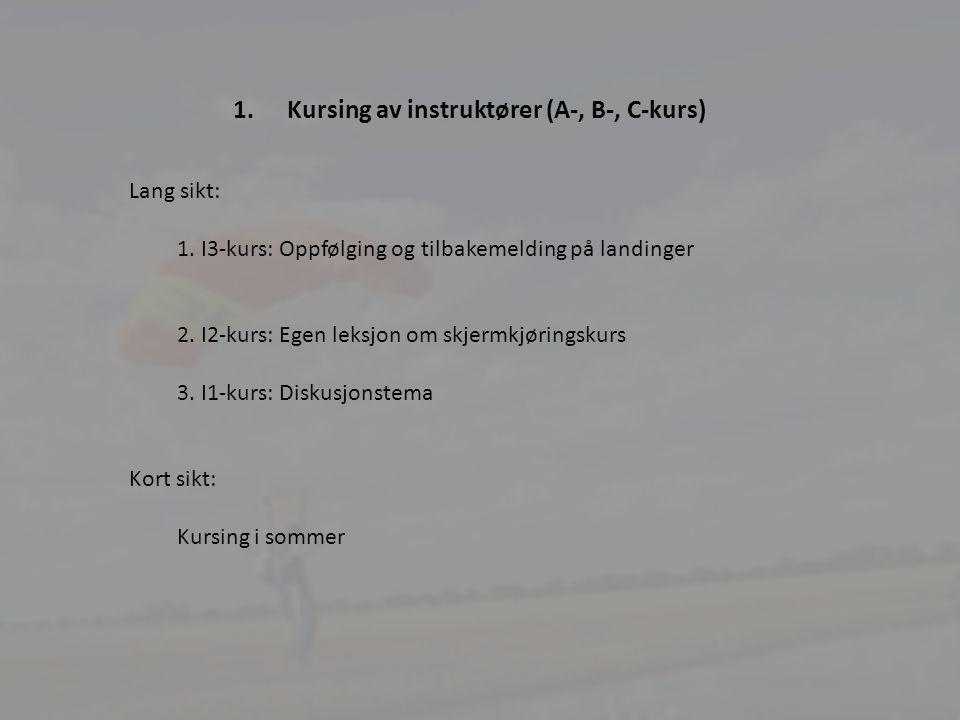 21 1.Kursing av instruktører (A-, B-, C-kurs) Lang sikt: 1.I3-kurs: Oppfølging og tilbakemelding på landinger 2.I2-kurs: Egen leksjon om skjermkjøringskurs 3.I1-kurs: Diskusjonstema Kort sikt: Kursing i sommer