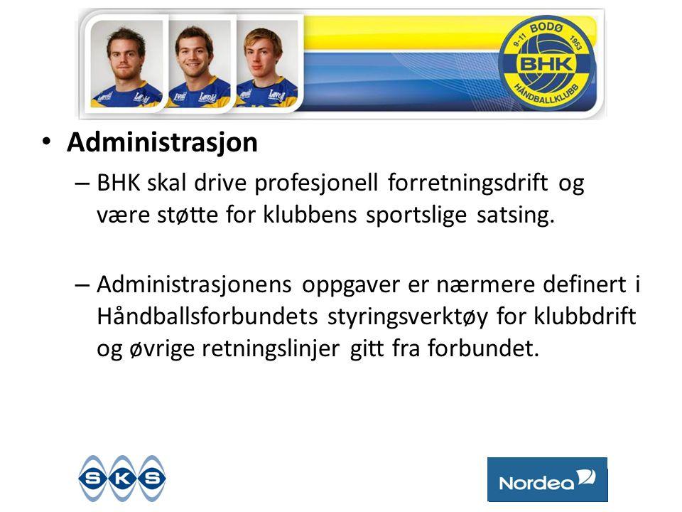 • Administrasjon – BHK skal drive profesjonell forretningsdrift og være støtte for klubbens sportslige satsing.