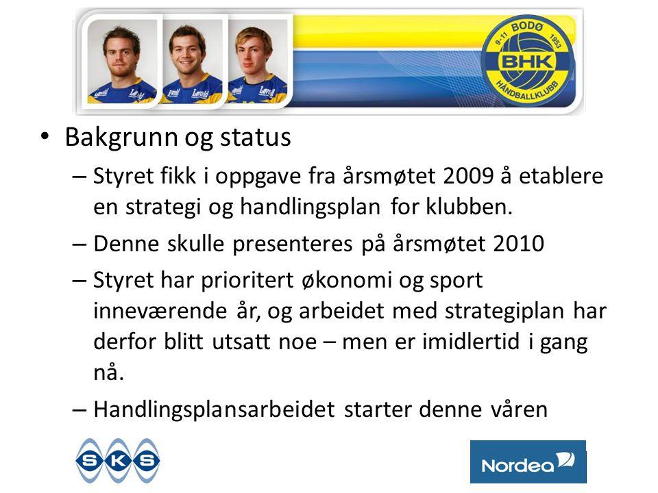 • Bakgrunn og status – Styret fikk i oppgave fra årsmøtet 2009 å etablere en strategi og handlingsplan for klubben.