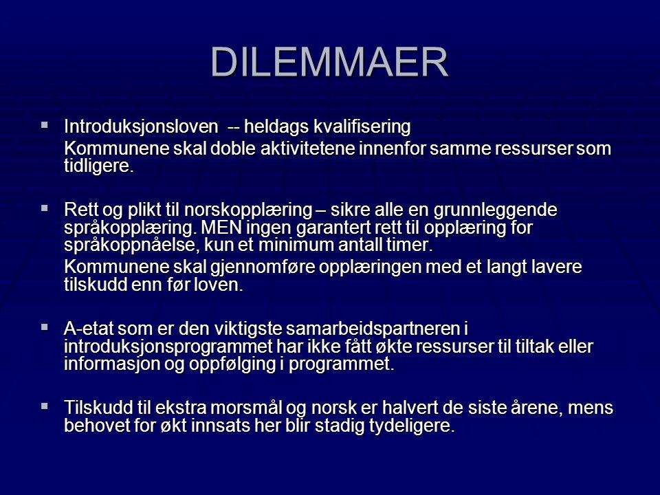 DILEMMAER  Introduksjonsloven -- heldags kvalifisering Kommunene skal doble aktivitetene innenfor samme ressurser som tidligere.