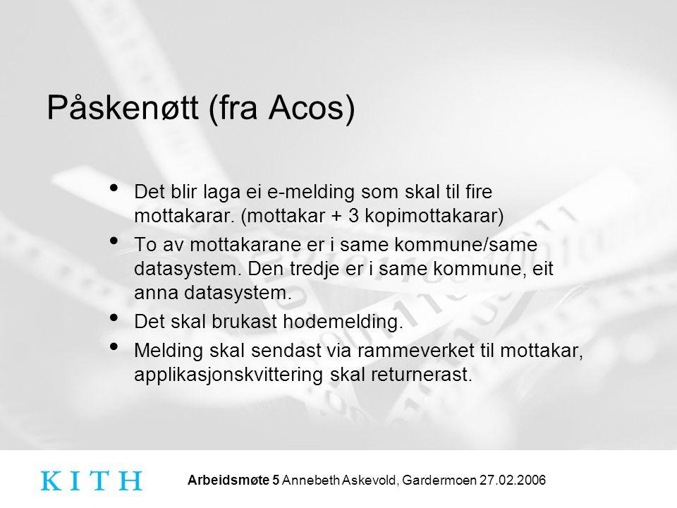 Arbeidsmøte 5 Annebeth Askevold, Gardermoen 27.02.2006 Påskenøtt (fra Acos) • Det blir laga ei e-melding som skal til fire mottakarar.
