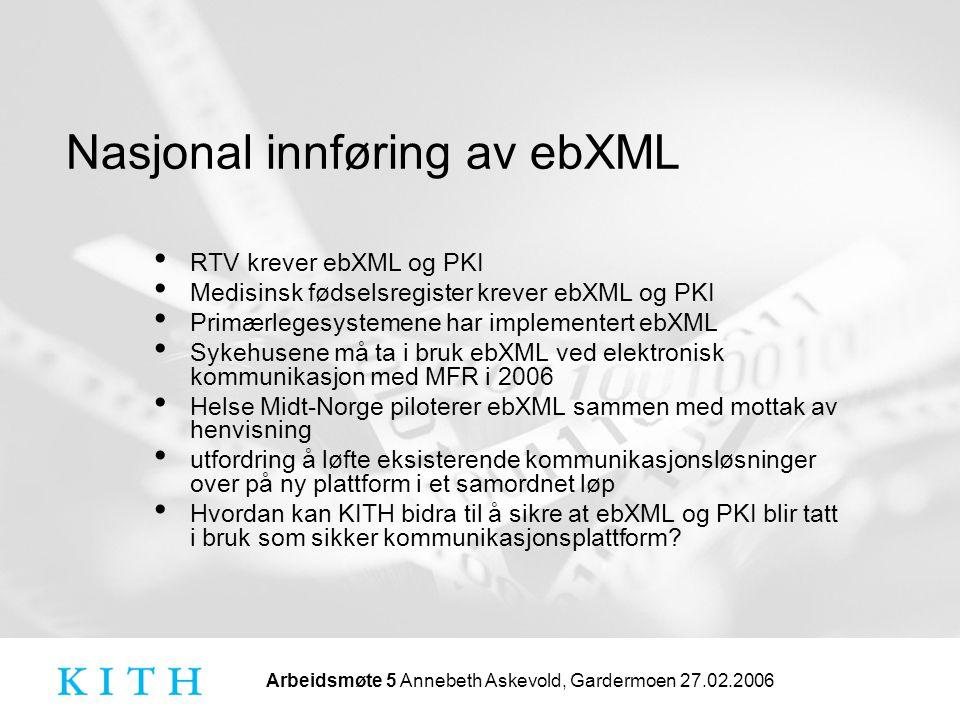 Arbeidsmøte 5 Annebeth Askevold, Gardermoen 27.02.2006 Nasjonal innføring av ebXML • RTV krever ebXML og PKI • Medisinsk fødselsregister krever ebXML og PKI • Primærlegesystemene har implementert ebXML • Sykehusene må ta i bruk ebXML ved elektronisk kommunikasjon med MFR i 2006 • Helse Midt-Norge piloterer ebXML sammen med mottak av henvisning • utfordring å løfte eksisterende kommunikasjonsløsninger over på ny plattform i et samordnet løp • Hvordan kan KITH bidra til å sikre at ebXML og PKI blir tatt i bruk som sikker kommunikasjonsplattform?