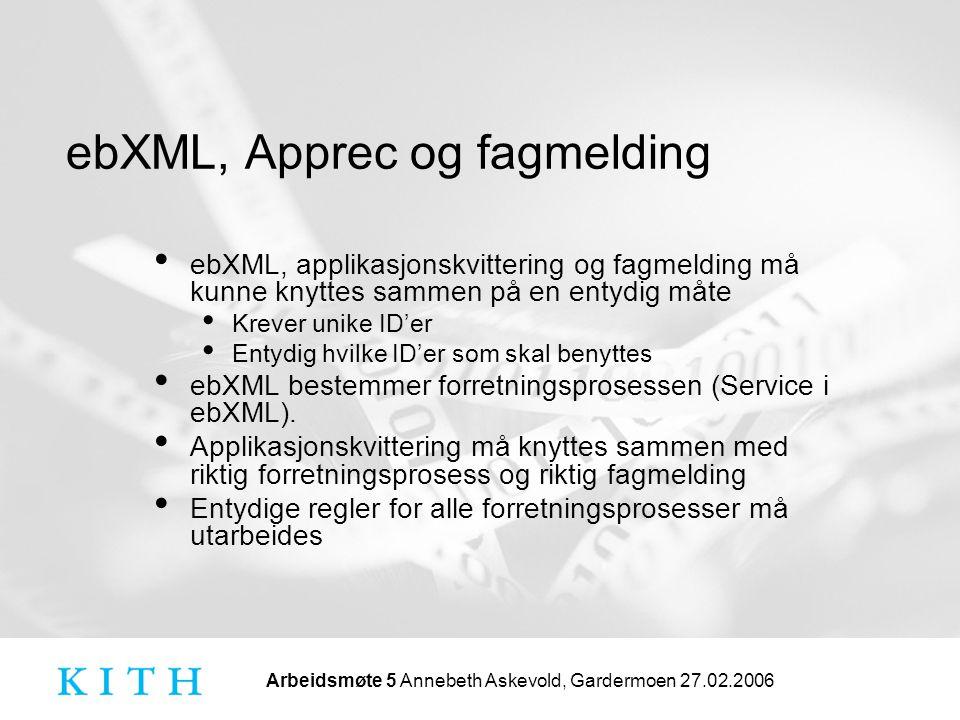 Arbeidsmøte 5 Annebeth Askevold, Gardermoen 27.02.2006 ebXML, Apprec og fagmelding • ebXML, applikasjonskvittering og fagmelding må kunne knyttes sammen på en entydig måte • Krever unike ID'er • Entydig hvilke ID'er som skal benyttes • ebXML bestemmer forretningsprosessen (Service i ebXML).