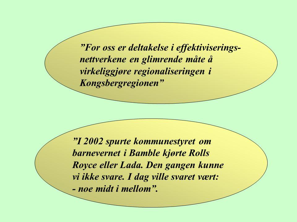 """""""For oss er deltakelse i effektiviserings- nettverkene en glimrende måte å virkeliggjøre regionaliseringen i Kongsbergregionen"""" """"I 2002 spurte kommune"""