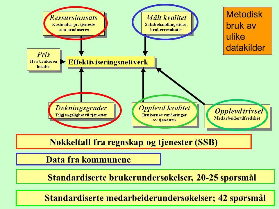 Nøkkeltall fra regnskap og tjenester (SSB) Data fra kommunene Standardiserte brukerundersøkelser, 20-25 spørsmål Opplevd trivsel Medarbeidertilfredshe