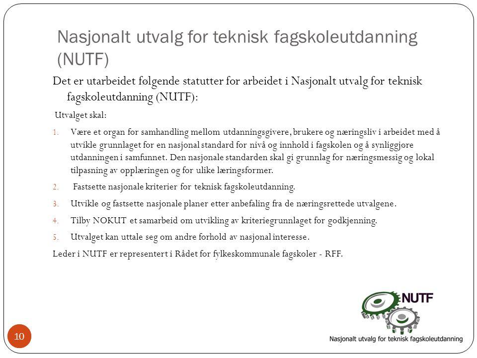 10 Nasjonalt utvalg for teknisk fagskoleutdanning (NUTF) Det er utarbeidet følgende statutter for arbeidet i Nasjonalt utvalg for teknisk fagskoleutdanning (NUTF): Utvalget skal: 1.
