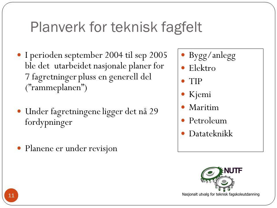 11 Planverk for teknisk fagfelt  I perioden september 2004 til sep 2005 ble det utarbeidet nasjonale planer for 7 fagretninger pluss en generell del