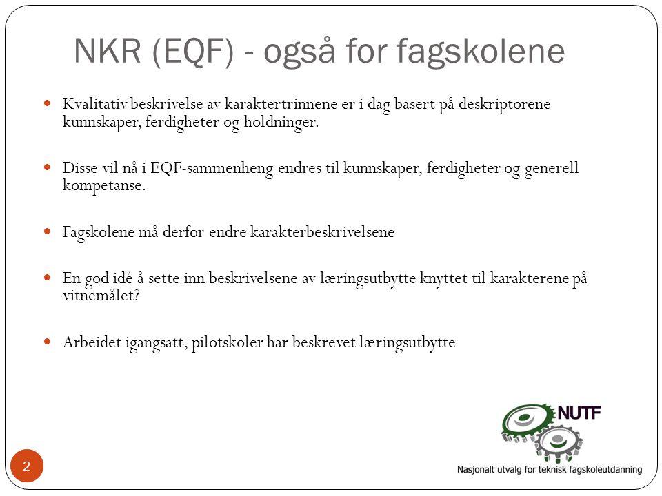 2 NKR (EQF) - også for fagskolene  Kvalitativ beskrivelse av karaktertrinnene er i dag basert på deskriptorene kunnskaper, ferdigheter og holdninger.