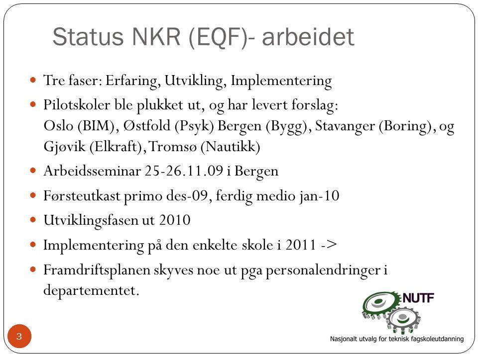 3 Status NKR (EQF)- arbeidet  Tre faser: Erfaring, Utvikling, Implementering  Pilotskoler ble plukket ut, og har levert forslag: Oslo (BIM), Østfold (Psyk) Bergen (Bygg), Stavanger (Boring), og Gjøvik (Elkraft), Tromsø (Nautikk)  Arbeidsseminar 25-26.11.09 i Bergen  Førsteutkast primo des-09, ferdig medio jan-10  Utviklingsfasen ut 2010  Implementering på den enkelte skole i 2011 ->  Framdriftsplanen skyves noe ut pga personalendringer i departementet.