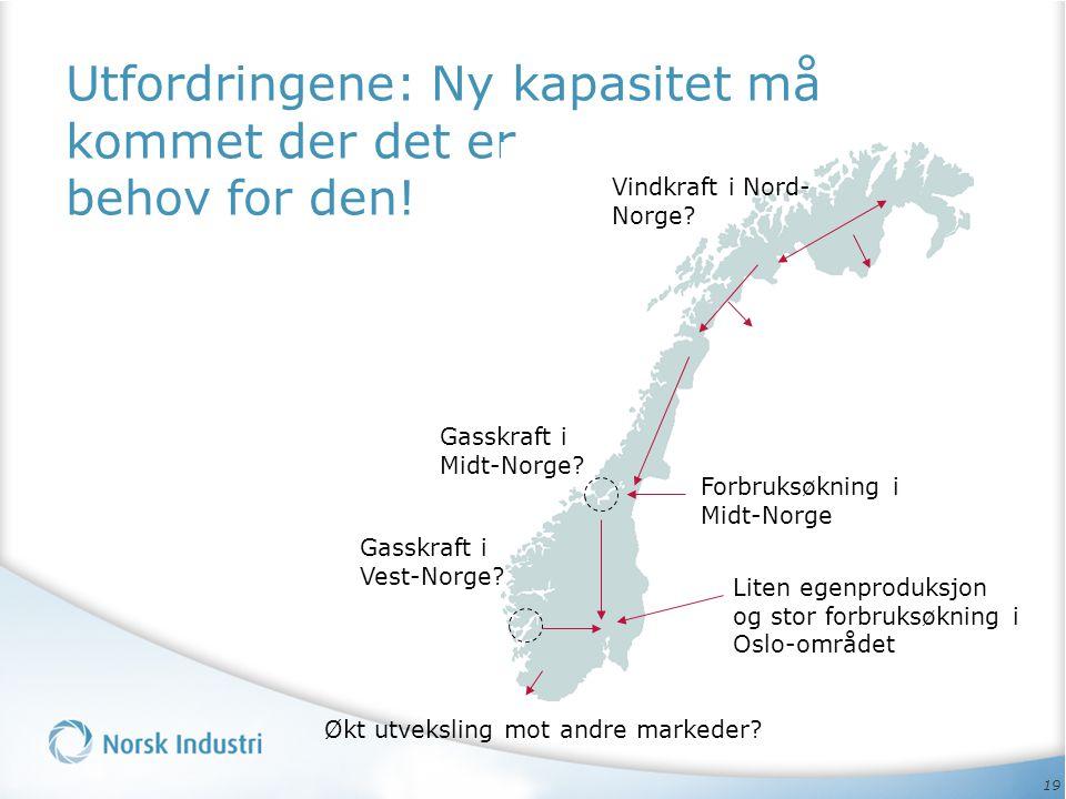 19 Utfordringene: Ny kapasitet må kommet der det er behov for den! Vindkraft i Nord- Norge? Liten egenproduksjon og stor forbruksøkning i Oslo-området