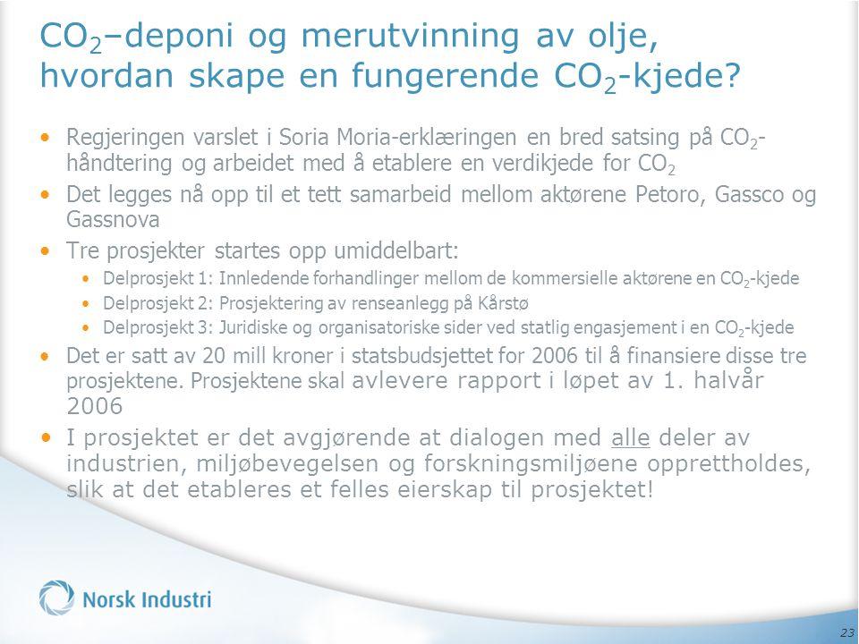 23 CO 2 –deponi og merutvinning av olje, hvordan skape en fungerende CO 2 -kjede? • Regjeringen varslet i Soria Moria-erklæringen en bred satsing på C