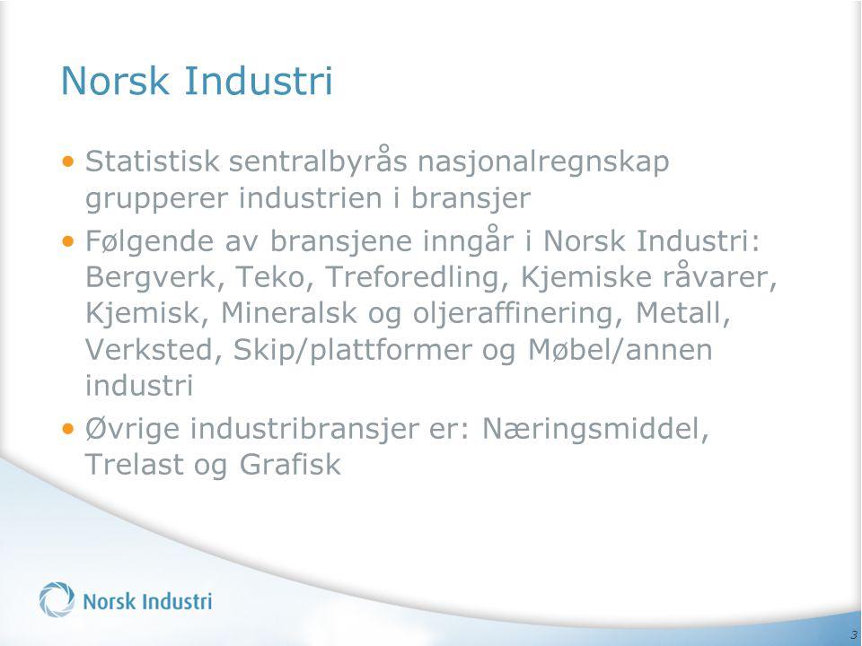 3 Norsk Industri • Statistisk sentralbyrås nasjonalregnskap grupperer industrien i bransjer • Følgende av bransjene inngår i Norsk Industri: Bergverk,