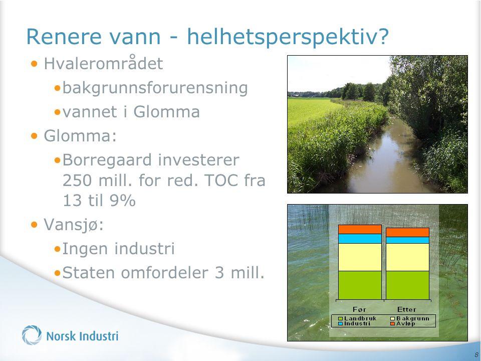 8 • Hvalerområdet •bakgrunnsforurensning •vannet i Glomma • Glomma: •Borregaard investerer 250 mill. for red. TOC fra 13 til 9% • Vansjø: •Ingen indus