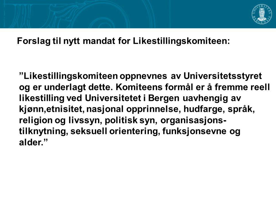 Likestillingskomiteen oppnevnes av Universitetsstyret og er underlagt dette.
