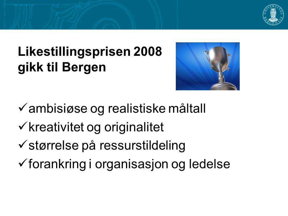 Likestillingsprisen 2008 gikk til Bergen  ambisiøse og realistiske måltall  kreativitet og originalitet  størrelse på ressurstildeling  forankring i organisasjon og ledelse