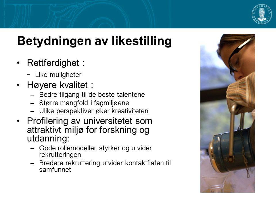 Handlingsplan for bedre kjønnsbalanse UNIVERSITETET I BERGEN 2007 – 2009 www.likestilling.uib.no