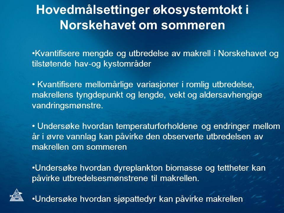 Hovedmålsettinger økosystemtokt i Norskehavet om sommeren •Kvantifisere mengde og utbredelse av makrell i Norskehavet og tilstøtende hav-og kystområder • Kvantifisere mellomårlige variasjoner i romlig utbredelse, makrellens tyngdepunkt og lengde, vekt og aldersavhengige vandringsmønstre.