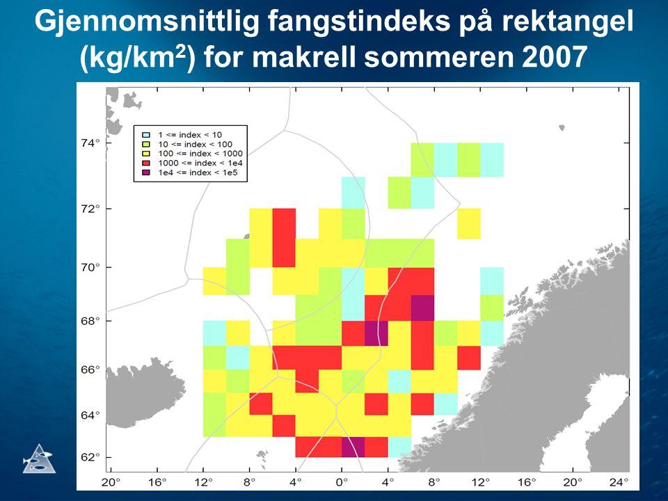 Gjennomsnittlig fangstindeks på rektangel (kg/km 2 ) for makrell sommeren 2007