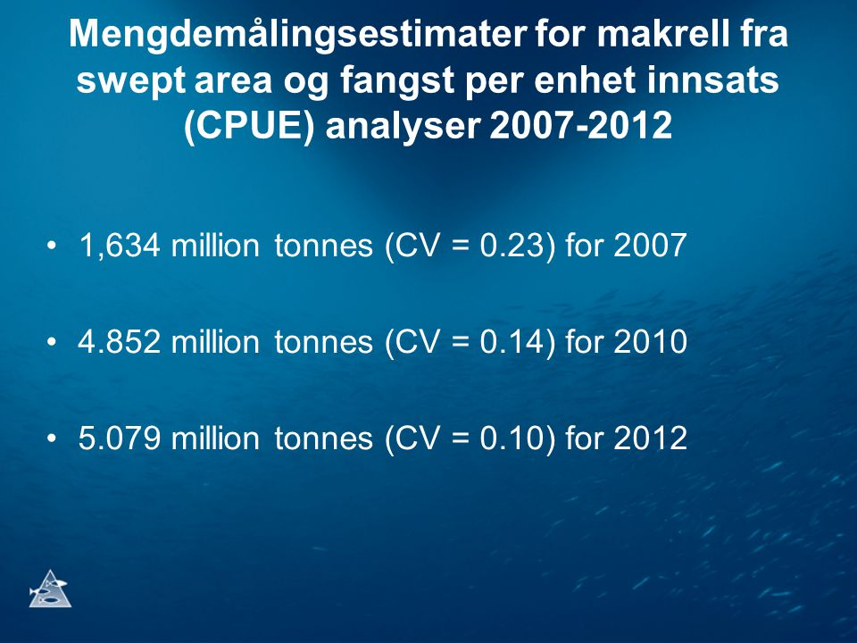 Mengdemålingsestimater for makrell fra swept area og fangst per enhet innsats (CPUE) analyser 2007-2012 •1,634 million tonnes (CV = 0.23) for 2007 •4.852 million tonnes (CV = 0.14) for 2010 •5.079 million tonnes (CV = 0.10) for 2012