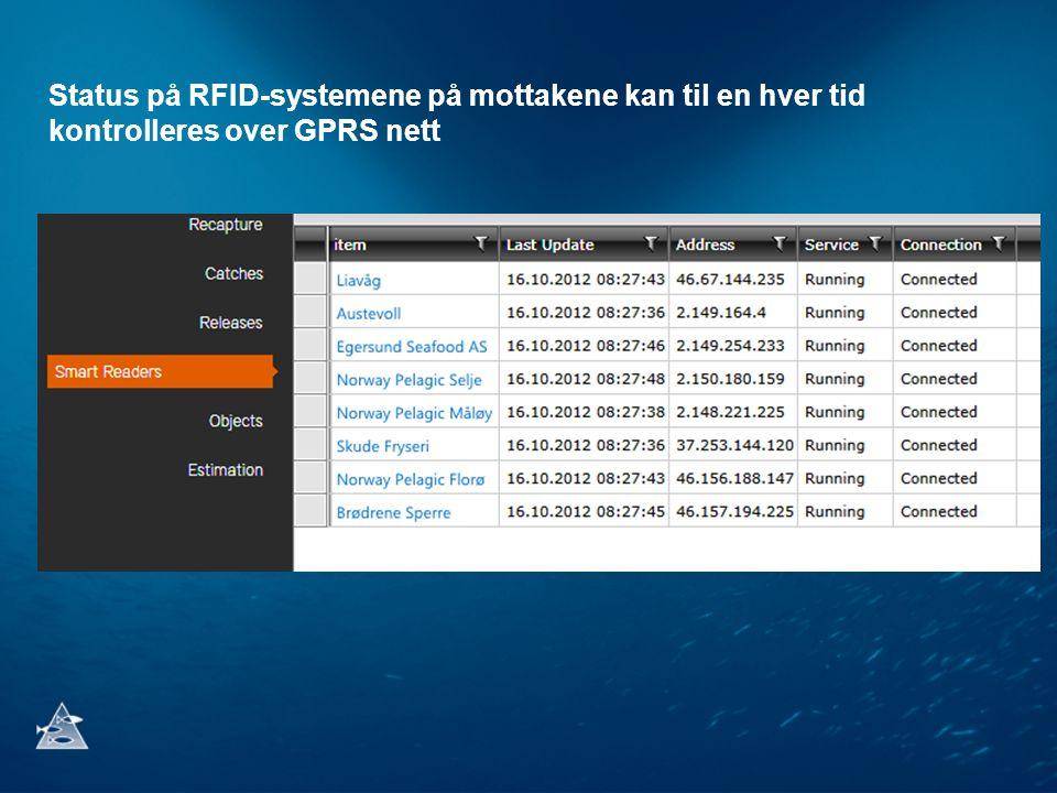 Status på RFID-systemene på mottakene kan til en hver tid kontrolleres over GPRS nett