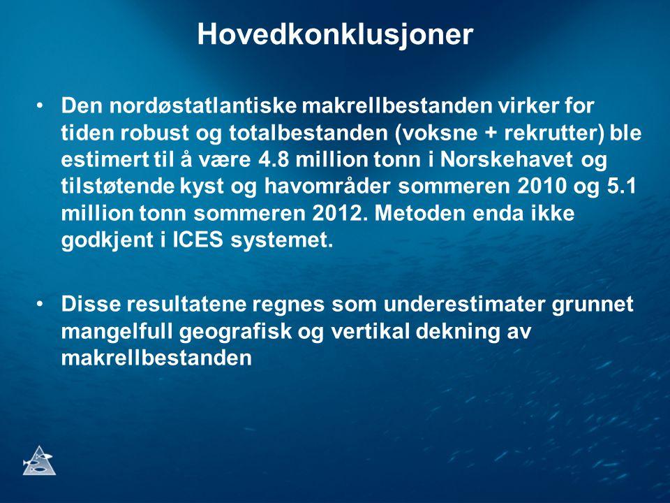 Hovedkonklusjoner •Den nordøstatlantiske makrellbestanden virker for tiden robust og totalbestanden (voksne + rekrutter) ble estimert til å være 4.8 million tonn i Norskehavet og tilstøtende kyst og havområder sommeren 2010 og 5.1 million tonn sommeren 2012.